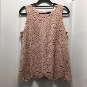 WORTHINGTON pink lace shell top, size petite small
